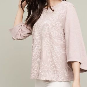 Anthropologie | Boho Bell Sleeve Beaded Top Spring